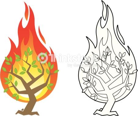 Burning illustration station . Bush clipart vector