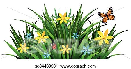 Bush clipart vector. Art with flowers and