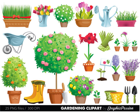 Tool and flowers clip. Gardening clipart garden bug