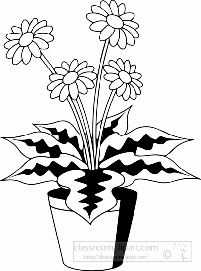 Bushes clipart black and white. Plants plant with flower