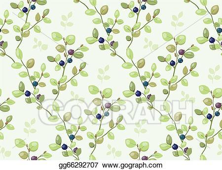 Bushes clipart blueberry. Stock illustration tiled pattern