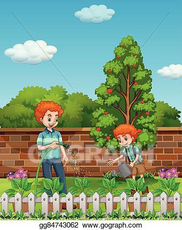 Gardener clipart father. Vector art and son
