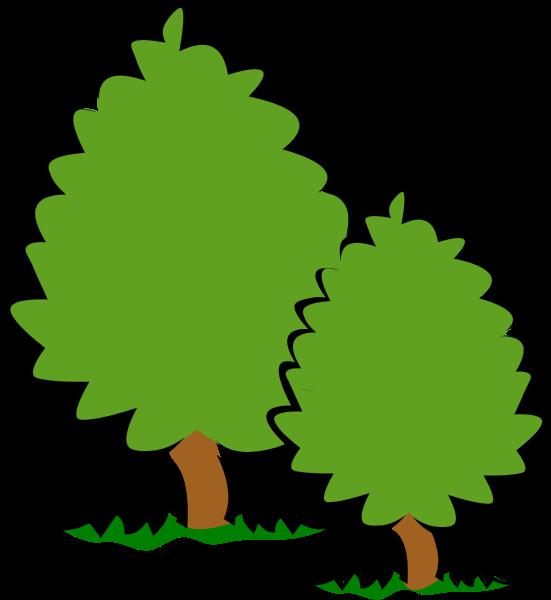 Small trees bushes panda. Bush clipart vector