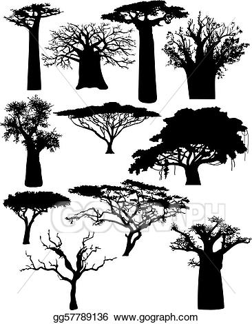 Bushes clipart drawing. Vector art various african