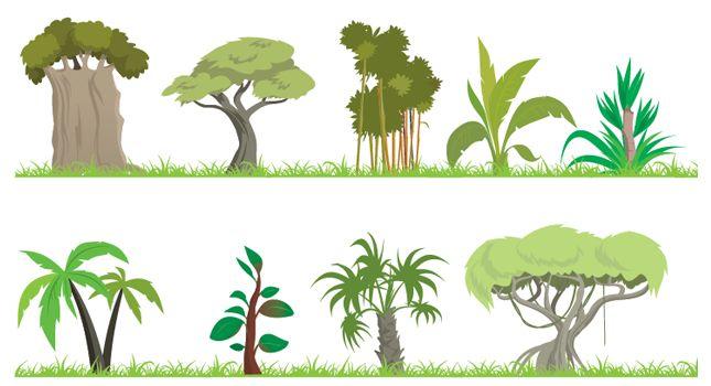 Bush jungle tree free. Bushes clipart forest
