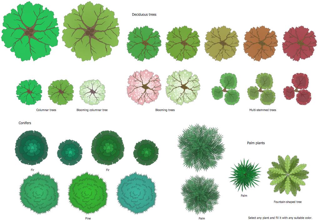 Bushes clipart landscape. Garden solution conceptdraw com