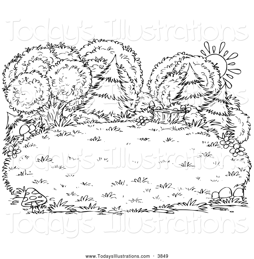 Bushes clipart outline. Of a black and