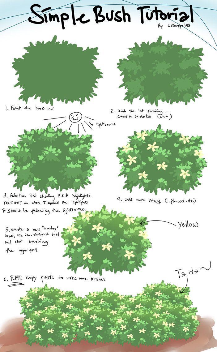 Bushes clipart paint. Bush tutorial by catnappe