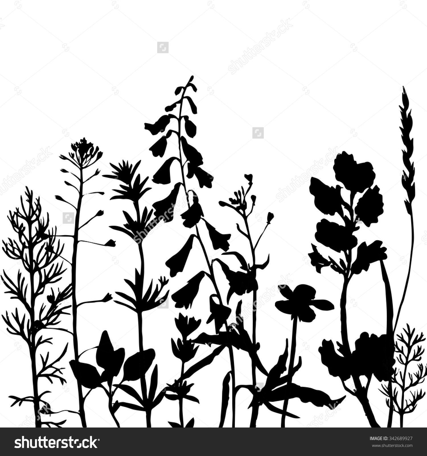 Bushes clipart silhouette. Stock vector grass silhouettes