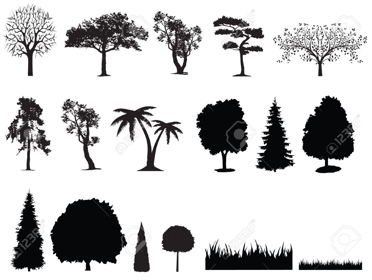 Bushes clipart silhouette.  of tree grass