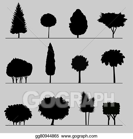 Vector art silhouettes of. Bushes clipart silhouette