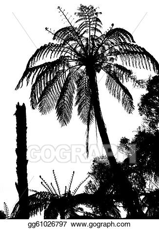 Bushes clipart silhouette. Stock illustration fern tree