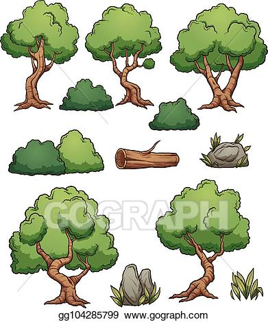 Vector stock forest cartoon. Bushes clipart tree
