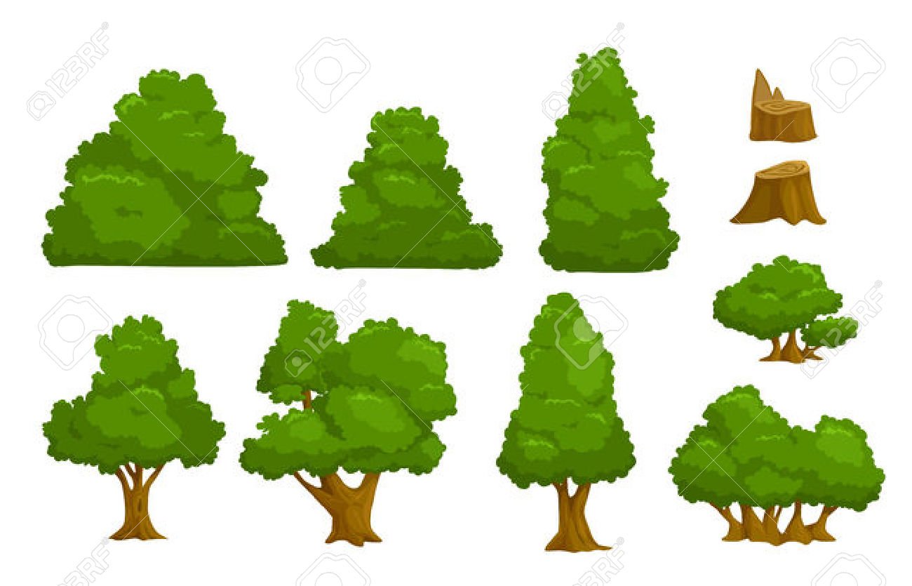 Bushes clipart vector. Trees and bush clipground