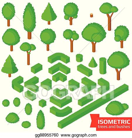Bushes clipart vector. Stock isometric trees hedge