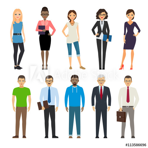 Dressed and casual people. Business clipart business attire