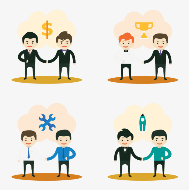 Business clipart business collaboration. Cartoon material hand drawing