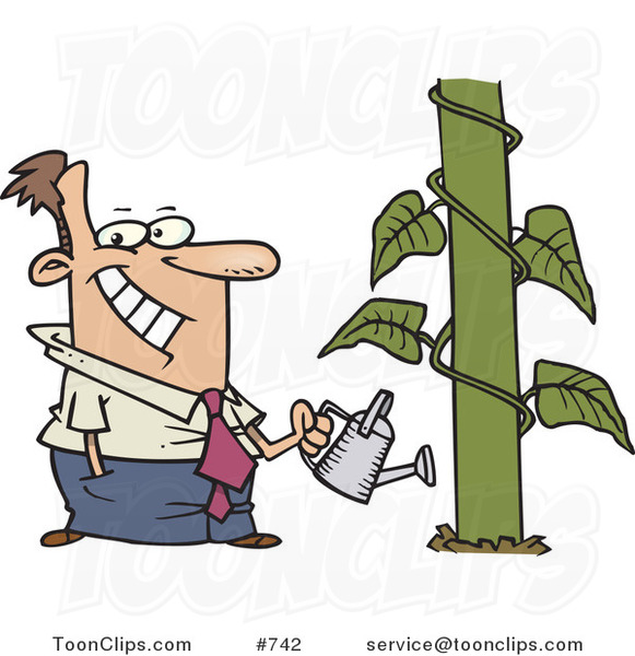 Happy cartoon man watering. Business clipart business growth