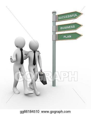Stock illustration d successful. Business clipart business partner