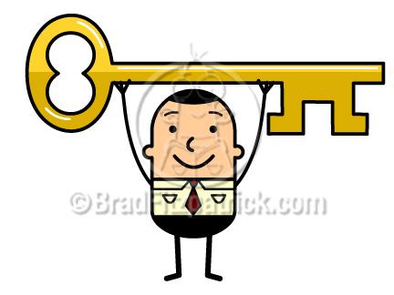 Man holding a key. Business clipart cartoon