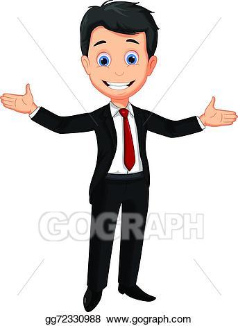 Eps vector man presenting. Business clipart cartoon