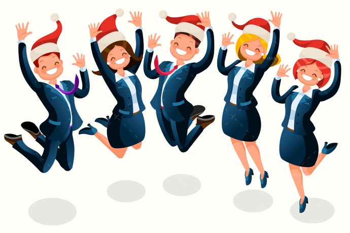 Celebration clipart office. Christmas party isometric people