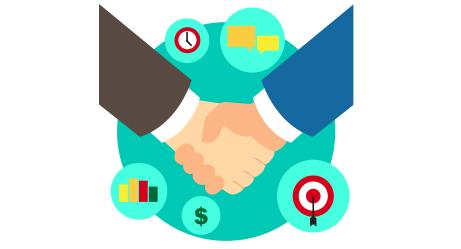 Models offshore joint venture. Business clipart partnership