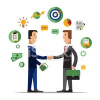 Successful people cooperation agreement. Business clipart partnership