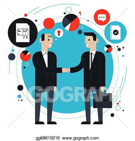 Business clipart partnership. Vector stock flat illustration