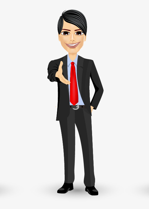 Cartoon hand painted business. Professional clipart buisness