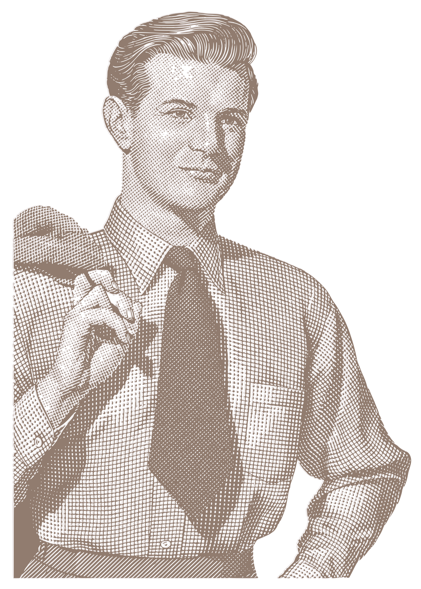 Vintage man big image. Retro clipart business