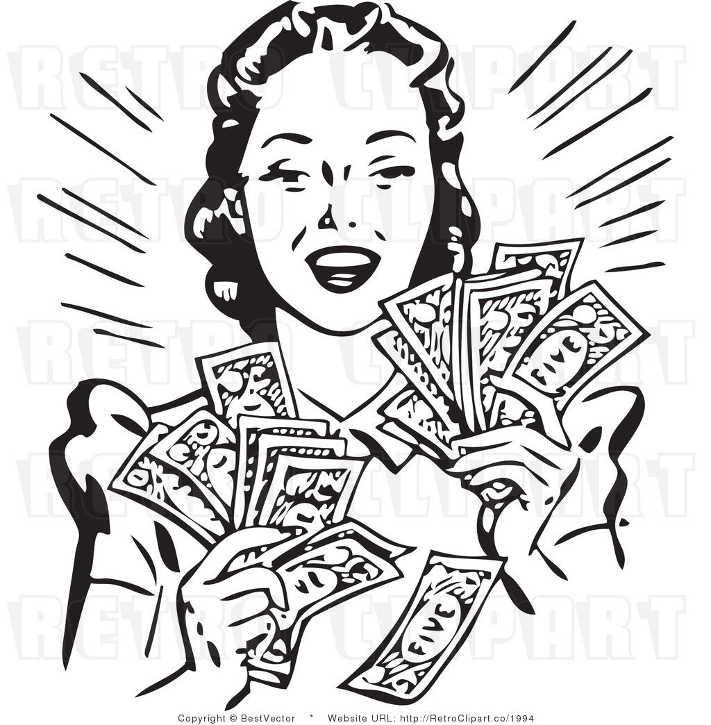Royalty free vector of. Money clip art retro