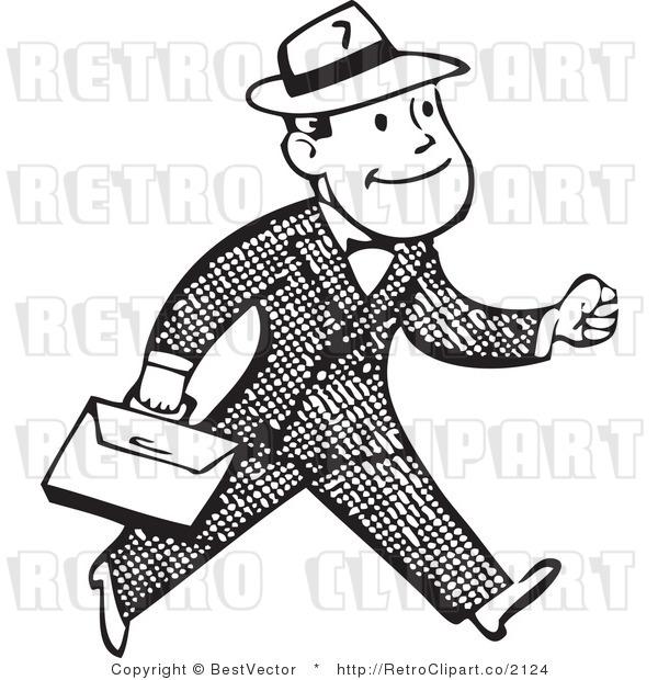 Business clipart retro. Black white person pencil