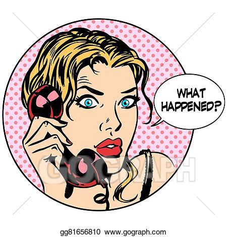 Vector what happens woman. Business clipart retro