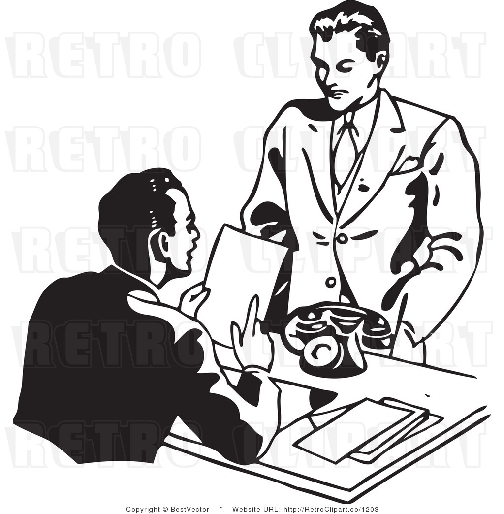 Retro clipart business.  collection of interview