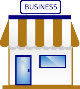 Business clipart shop. Blue and gold clip