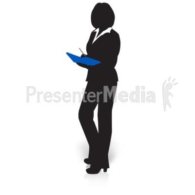 Businesswoman book presentation great. Business clipart silhouette