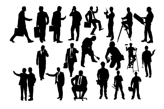 People handyman working man. Business clipart silhouette