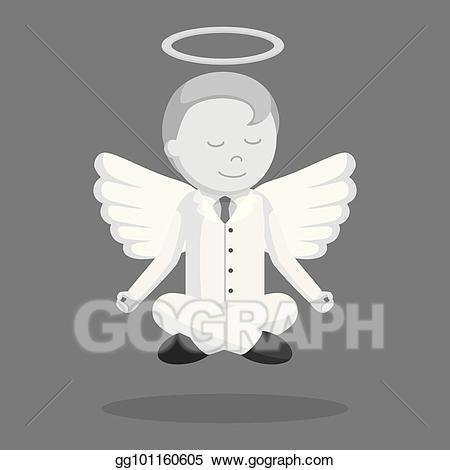 Vector illustration flying meditate. Businessman clipart angel