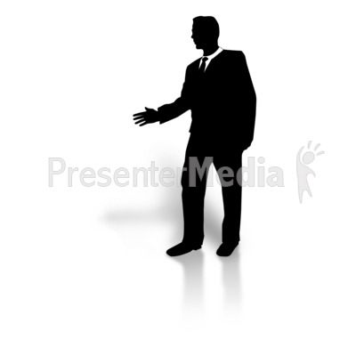Silhouette greeting and finance. Businessman clipart business guy