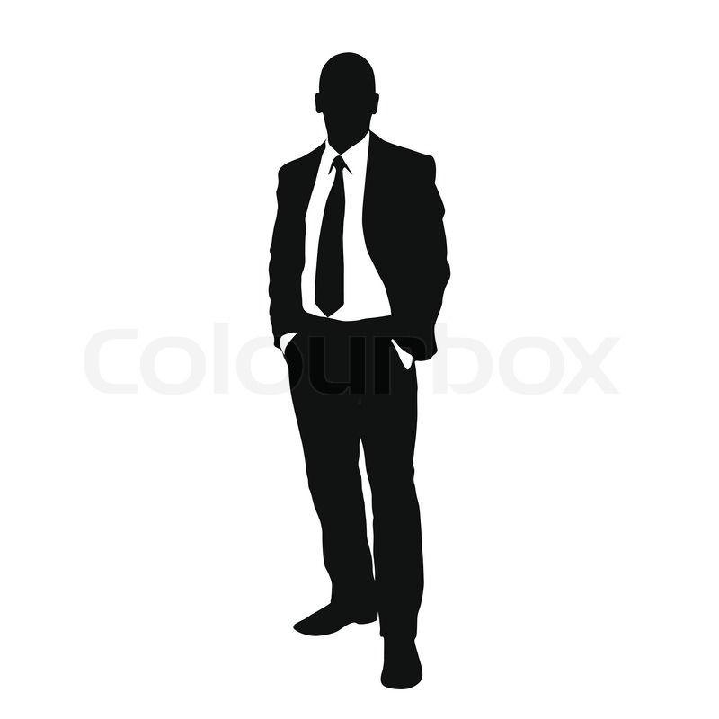 Vector man black silhouette. Businessman clipart business guy
