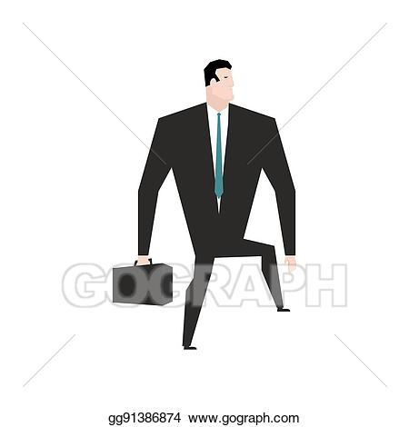 Vector illustration steps forward. Businessman clipart business guy