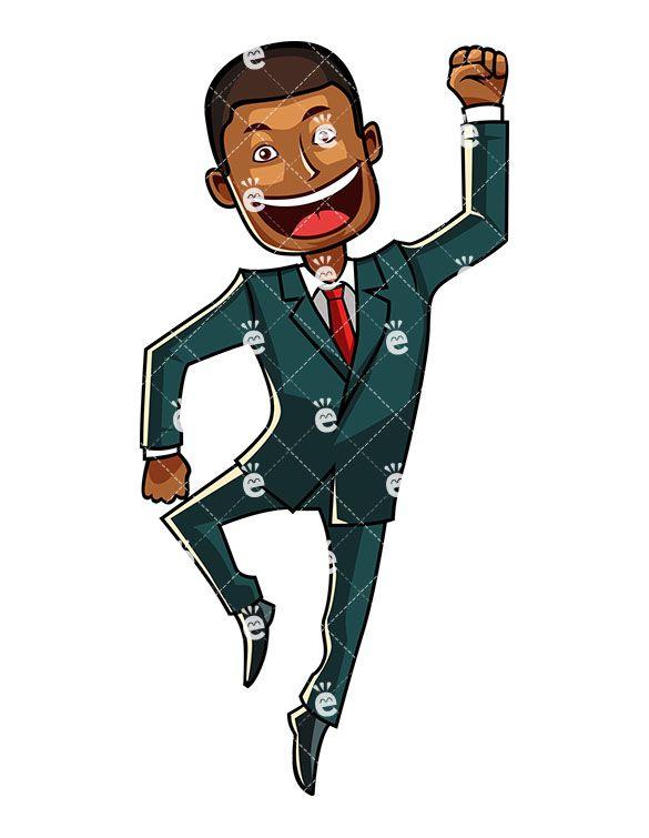 Businessman clipart business guy. An ecstatic black man