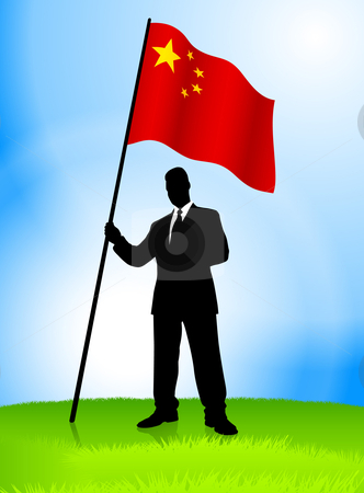 Businessman clipart businessman chinese. Leader holding china flag