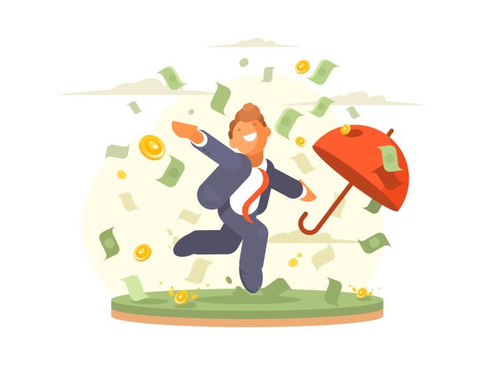Businessman clipart illustration. Man under money rain