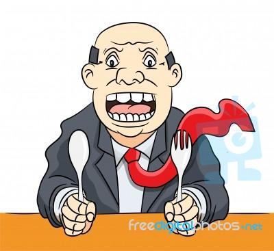 Cartoon waiting food stock. Businessman clipart illustration