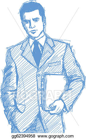 Vector illustration sketch with. Businessman clipart laptop