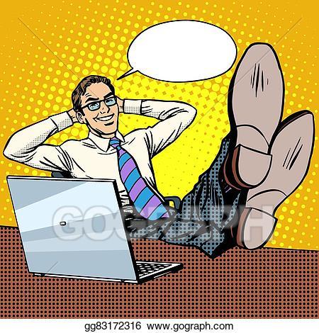 Businessman clipart laptop. Vector art happy relax