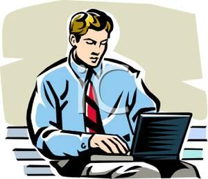 Using a on park. Businessman clipart laptop