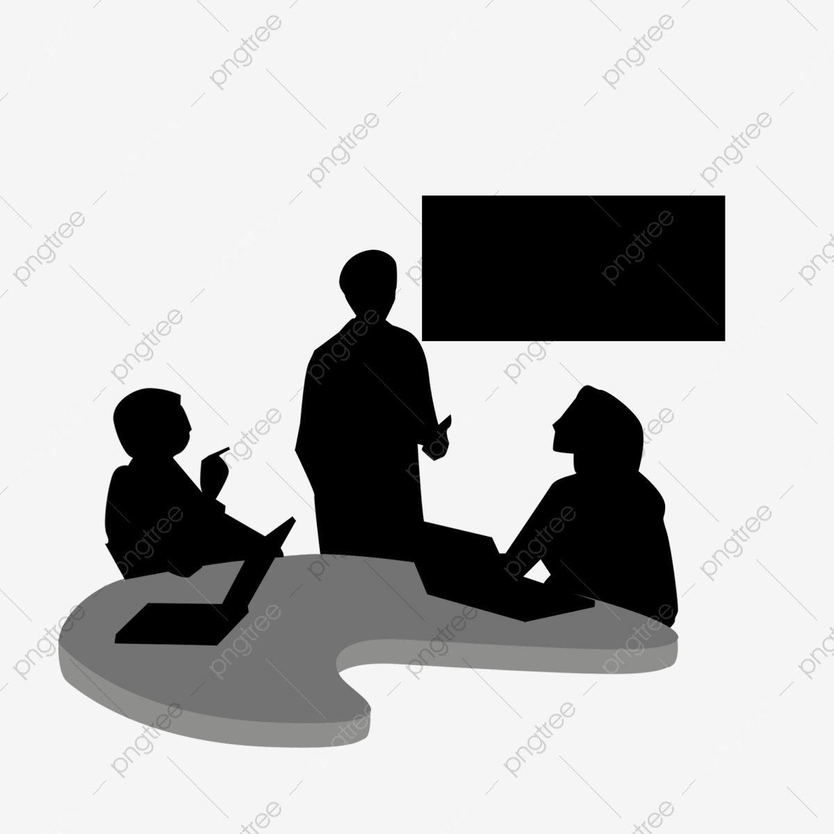 Business meeting silhouette people. Businessman clipart marketing team